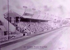 Exeter City drawn in graphite  20'' x 30'' approx poster print
